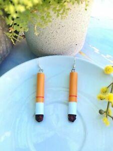 AU Seller Cigarette Butt Smoke Winnie Blues Funny Joke Pendant Style Earrings