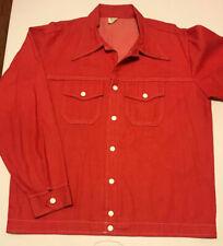 Vtg 1970's Men's Large Louisville Sportswear Denim Snap Leisure Shirt Jacket Red