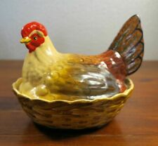 Staffordshire Style Hen on Nest Covered Pottery Box Hand Painted