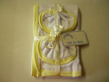 "Baby Towel & 2 Washcloths By Baby King, White & Yellow , 21"" x 28"", Brand New"