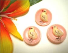 VINTAGE 1940's FRENCH CHICKS PINK PLASTIC HP KIDDIE BUTTONS