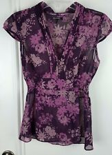 Daisy Fuentes Womens Small Purple Sheer Floral Shirt Empire Cap Sleeves B78