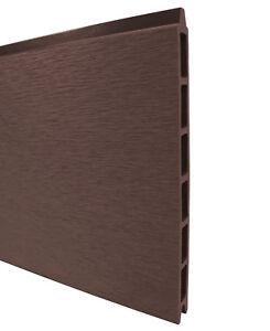 WPC Sichtschutzzaun Zaun Paneele Brett chocolate Braun Bürstung 183,6x21x2 cm