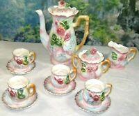 Betson's Tea/Coffee Set 13 Piece Pink Roses Porcelain Japan Vintage Rare