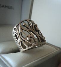 Vintage Attractive Sterling Silver Modernist Abstract Ring 1970s -  size L / M