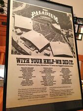 "BIG 11X17 FRAMED ""CAROWINDS PALADIUM"" CHARLOTTE 1977 SUMMER CONCERTS PROMO AD"