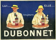 """""""DUBONNET"""" Affiche d'intérieur originale litho entoilée 1924 Jean CARLU 30x40cm"""