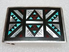 NEW HANDCRAFTED STERLING SILVER INLAY BELT BUCKLE ''LEANDER OTHOLE'' N369-E