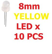 LOT OF 10 8mm YELLOW LED 589nm STANDARD TRANSPARENT Electronic Components