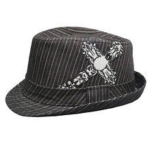 *Rare* Contraband Pinstripe Fedora Hat, Black White, Affliction Style Cross, OS