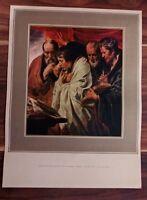 VINTAGE BOOK PLATE ART JORDAENS THE FOUR EVANGELISTS FLEMISH THE LOUVRE PARIS