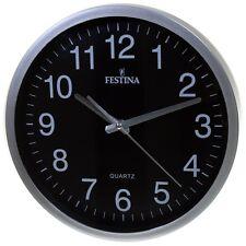 Festina Fc-0106 reloj de pared redondo bisel Plastico color plata esfera negra