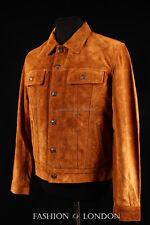 Men's TRUCKER Suede Leather Western Jacket Classic Denim Style Shirt Jacket 1280