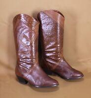 5S Ara Damen Stiefel Slouch Boots Leder braun Gr. 36 Patchwork Vintage Boho