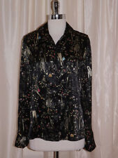 Vtg 80s French Cuff Silky FASHION DIVA PRINT LS BLOUSE Sz 10 Whimsy Fashionista