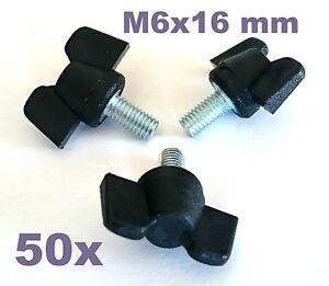 50 Stück M6x15-16mm Flügelschrauben schwarz, Kunststoff/Stahl stabile Ausführung