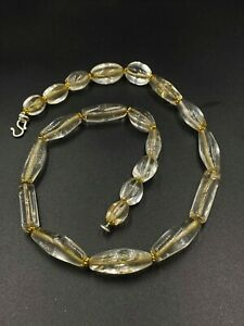 old antique ancient beautiful crystals quartz beads necklace from Burma original