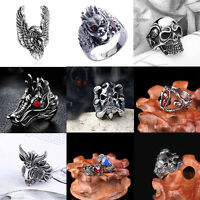 Cool Fashion Silver Gothic Punk Men Jewelry Skull Head Biker Ring Jewelry NEW