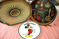 Lot of 3 Colorful Vintage Metal Trays GREAT CONDITION  S3310