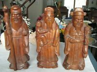 Vintage Carved Wood Trio Of Asian Men In Different Life Stages