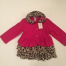 NWT MACK & CO Girls Hot Pink with Leopard Print Fleece Jacket/Coat, Size 5