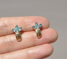 14K SOLID GOLD BLUE TOPAZ & NATURAL DIAMOND EARRINGS - HUGGIES TRINITY CLUSTER