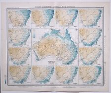 1899 LARGE WEATHER METEOROLOGY MAP ISOBARS & ISOHYETS AUSTRALIA ANNUAL RAINFALL