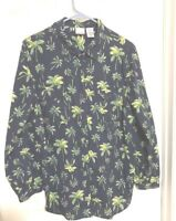 Roaman's 20W 1X 18 20 Hawaiian Floral Shirt Blue with green palm leaves LS 42x30