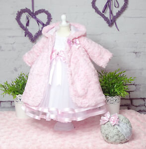 Taufkleid+Stirnband+Mantel Spitze Taufe Babykleid weiss-rosa ❤️Neuheit 2021❤️