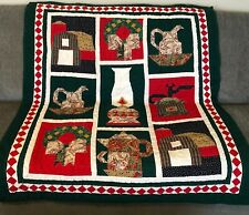 """Vintage Handmade Christmas Lap Quilt Wall Hanging Throw Warm Cozy 55"""" X 46"""""""