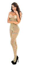 New Sexy Nude Leopard Printed See-through Body Stocking Tight Evening Lingerie
