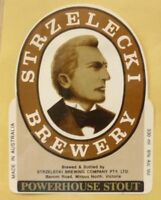 OLD AUSTRALIAN BEER LABEL, STRZELECKI BREWERY MIRBOO NORTH, STOUT