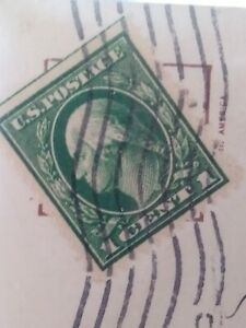1912  GREEN George Washington One 1 Cent Stamp U.S. Postage One Side Uncut