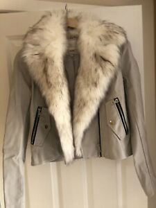 River Island Cream Leather Jacket With Fur Collar- Size 10. Never Worn