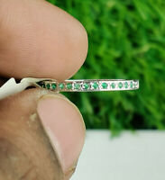 925 Sterling Silver Natural Emerald Round Cut Band Ring Valentine Gift Size 7.25
