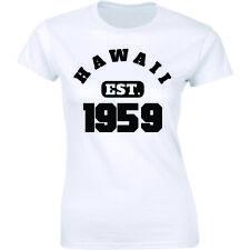Hawaii Est. 1959 T-Shirt Established State Usa America History Womens Tee Shirt