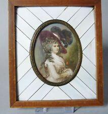 (G1521) Miniatur Portrait einer Adligen Dame mit Hut,Gouache, signiert Kujer