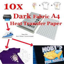 10 Sheet-T-Shirt Inkjet Iron-On Heat Transfer Paper, For Dark Fabric, A4 -New