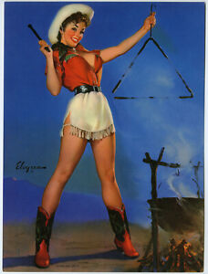1950s Gil Elvgren Western Brown & Bigelow Pin-Up Print Cowgirl Come and Get It