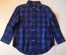 NWT Ralph Lauren Boys Long Sleeve Blue Plaid Oxford Polo Pony Shirt Sz 3/3T