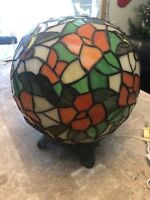 stained glass Style Glass Ball Lamp birds flowers 12 inch
