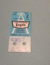 Sep 2 1975 California Angels Oakland Athletics Baseball Ticket Stub Frank Tanana