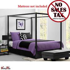 Metal Canopy Bed Frame Queen Size W/ HeadBoard Platform Modern Bedroom New
