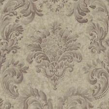 Neoclassic Damask Wallpaper in Shades of Plum, Grays & Gold RL9505 FREE SHIPPING