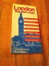 Vintage London Underground Big Ben England Geographia Map Tube Theatre Cinema UK