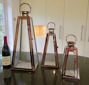 set of 3 bright Pyramid shaped copper Lanterns  INDOOR/OUTDOOR weddings gift