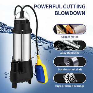 1.5HP Water Pump Submersible Flooding Swimming Pool 2645GPH Emergency Draining