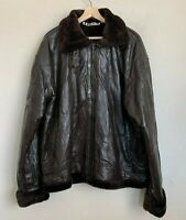 DGS Mens Bomber Jacket Flight Brown Leather Faux Fur Lined Zip Pockets Size 4XL