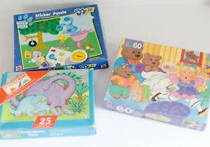 Lot of 3 Vintage Childrens Puzzles 25 32 60 Piece Blues Clues  Springbok Dinos