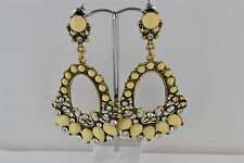Cream & Crystal Drop Earrings Antique Gold Tone